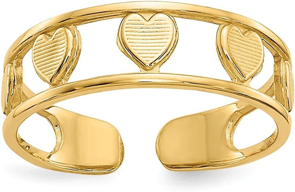 Solid 14k Yellow Gold Heart Toe Ring (5mm)