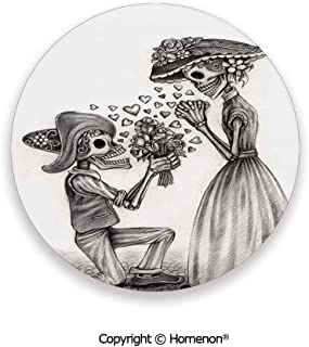 Mariage Proposal Till Life do us Apart Dead Day Festive Print,Ceramic Stone With Cork Back Dimgrey and White,3.9×0.2inches(4PCS),Great Gift For Unisex Adults Teens