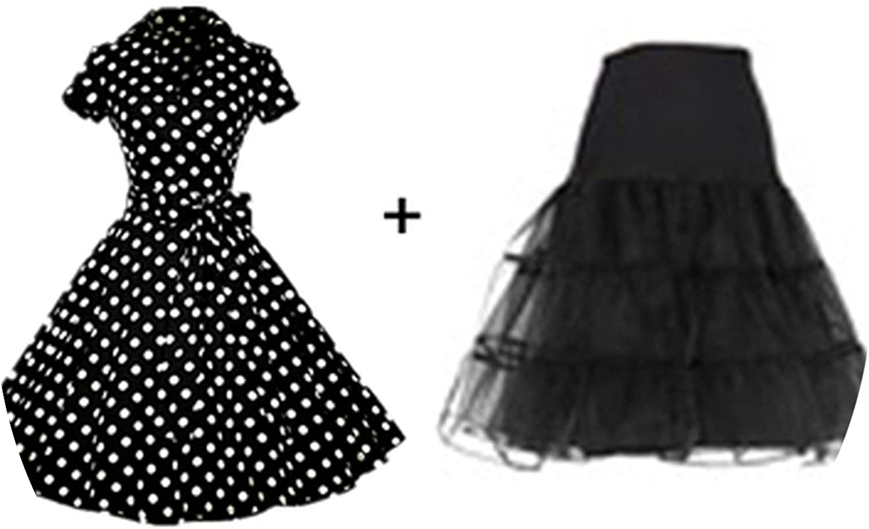 Women Retro Dress Vintage Rockabilly Swing V Neck Short Sleeves Dot Print Dress
