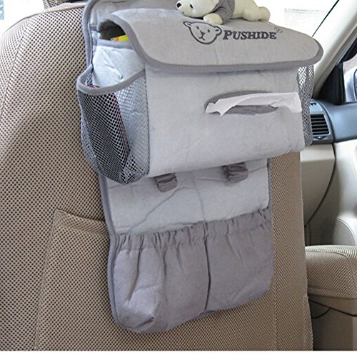 [Petit Ours] type de suspension de voiture Organiseur de siège Sac de rangement, Gray