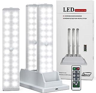Under Cabinet Lighting, Dimmable 24-LED Closet Lights Wireless Under Counter Light 1000mAh Battery Night Safe Lights Stic...