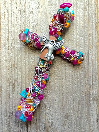Pink and Turquoise Hummingbird Cross