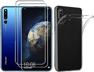 Aidianr fodral och skärmskydd för Honor Magic 2, transparent mjukt TPU-telefonfodral, med [2-pack] 9H härdat glas skärmsky...