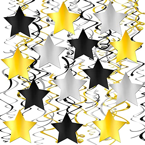 Gold Star Hanging Graduation Decorations 2021 - Big Pack of 30 Black, Silver and Gold Star Hanging Swirls | Hollywood Party Decorations | Retirement Decorations for Party Prom Decorations Car Parade