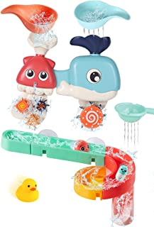 Bessentials Baby Bath Toys Assemble Set - DIY Wall Suction Tracks Waterfall Spinning Gear Bathtub Toys Gift for Toddlers B...