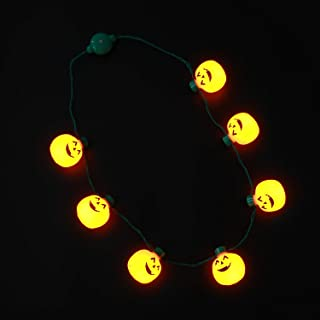Hautton Light-Up Pumpkin Necklace, 7 LEDs Battery-Operated 6 Flashing Modes Jack-O-Lantern Necklace Flashing String Lights for Halloween Holiday Festival Party