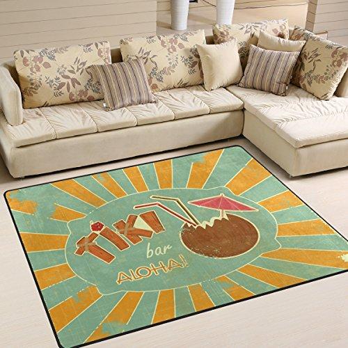 COOSUN Design rétro Tiki Bar Menu Zone Tapis Moquette antidérapant Tapis de Sol Paillasson pour Salon Chambre à Coucher 160 x 121,9 cm, Tissu, Multicolore, 63 x 48 inch