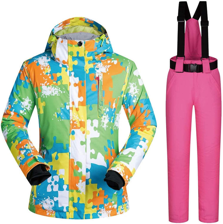 Lisansang Damen Skijacke Skijacke Hose Set Winddicht wasserdicht Winter warm Polyester Snowboard Schneeanzug Frauen (Farbe     Pants, Größe   XL)