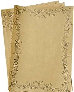 16Pcs Retro Flower Vine Kraft Paper Stationery Calligraphy Writing Papers