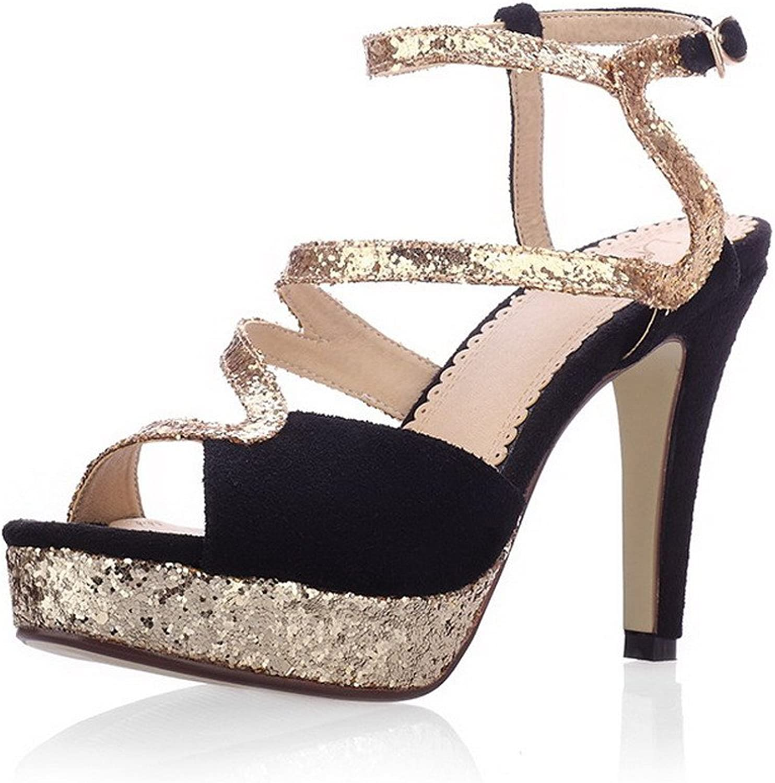 WeiPoot Women Open Toe High Heel Spikes Stilettos Sheepskin Soft Material Solid Sandals with Sequin, Black, 7.5 B(M) US