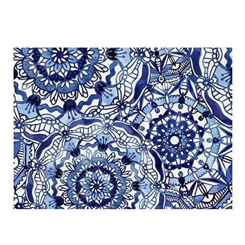 Alfombrilla de secado de platos de microfibra, Delft Blue Mandalas de secado rápido para cocina, resistente al calor, antideslizante y apta para lavavajillas.