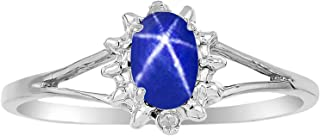 Ladies Ring with Oval Shape Cabochon Gemstone & Genuine Sparkling Diamonds in 14K White Gold - 6X4MM Black Star Sapphire, Blue Star Sapphire, Star Ruby, Opal, Onyx, Tiger Eye
