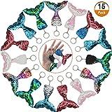Kulannder 15 Piezas Sirena Llavero De Cola con Lentejuelas Glitter para Bolsos, Carteras, Artículos De Fiesta De Cumpleaños, Regalos De San Valentín para Niños o Chicas, 5 Colores