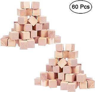 Cubos de Madera (60 Piezas) - 2 x 2 x 2cm Bloques de Madera - Cubos Pequeños - Perfectos para Sellos, Artes y Manualidades, Proyectos de Alfabeto y Números y Bricolaje