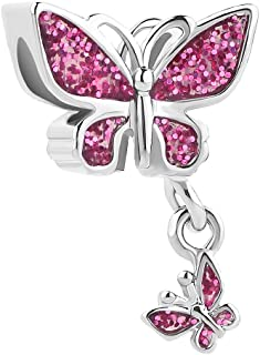 Dangle Colorful Butterfly Charm Beads For Bracelets