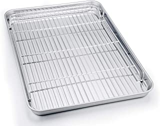 TeamFar Baking Sheet with Cooling Rack, Stainless Steel Half Size Cookie Sheet Pan and Baking Rack Set, 20''×14''×1'', Non Toxic & Rust Free, Thick & Heavy Duty, Mirror Finish & Dishwasher Safe