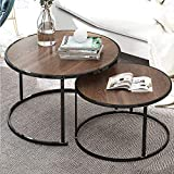 nozama Modern Nesting Tables Set of 2 Round Coffee Tables for Home Office (Brown)