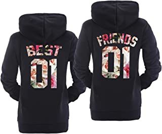 Best Friend Hoodies for 2 Matching Hoodies for Best Friends White BFF Hoodi Pullover Sweaters