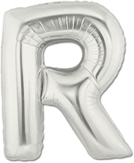 Grabo 379S-P Letter R Balloon Superloon Single Pack, Length-40 Inch, Colour-Silver, One Size