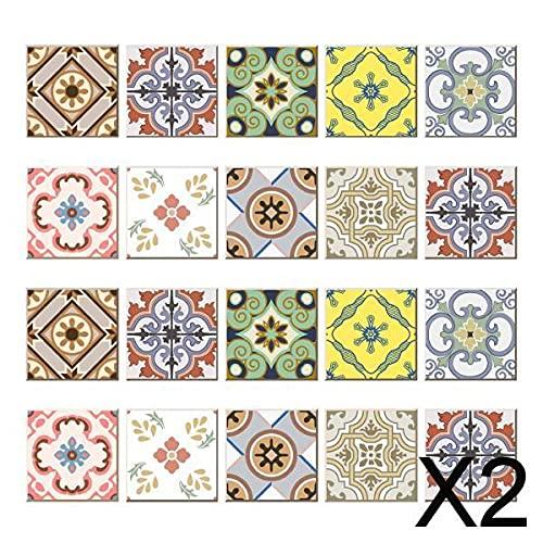 FLAMEER 2 X 20 Piezas de Azulejos de Mosaico de Pared Pegatinas Cocina Baño Azulejos