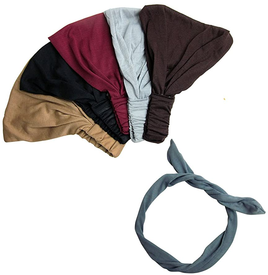 Exquisite Pack-5 Solid,Dark,Wide Headbands With FREE beautiful light Grey Wire Headband-CoverYourHair
