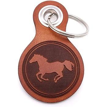 Samunshi® Leder Schlüsselanhänger mit Gravur Pferd Geschenke Made in Germany 8x4,8cm Cognac braun/graviert