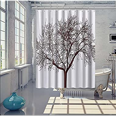 WoneNice Mold Resistant Fabric Shower Curtain With Tree Background Design,Waterproof/Water-Repellent & Antibacterial,72x72 Inches, White & Black