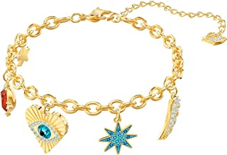 SWAROVSKI Lucky Goddess Charms Bracelet, Multi-Colored, Gold Plating