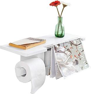 SoBuy® FRG175-W Dérouleur Papier Toilette - Distributeur WC Porte Papier Mural Avec Support Pour Déposer Smartphone et Por...