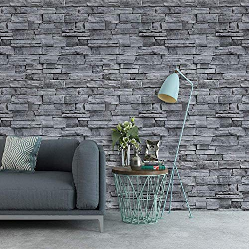 "Grey Stone Wallpaper Peel and Stick Wallpaper 3D Brick Self Adhesive Removable Wallpaper Waterproof Stick on Wallpaper Backsplash Wall Paper Shelf Drawer Liner Vinyl Film 17.7""x236"" Kentucky"
