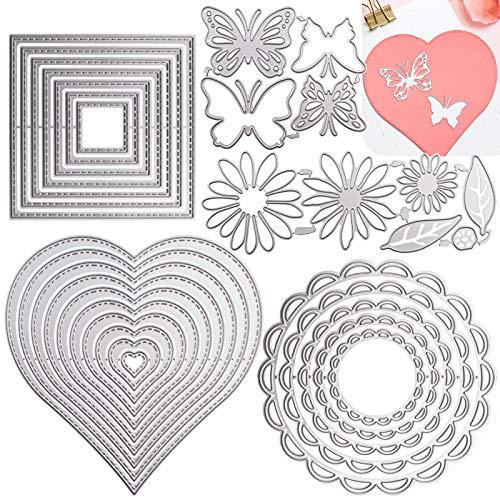 DailyTreasures 5 Set Stencil per fustelle da taglio, 32 pezzi Stampi per modelli in metallo Strumenti per goffratura fai-da-te multi-forma per album Scrapbooking Art Decor & Card Making