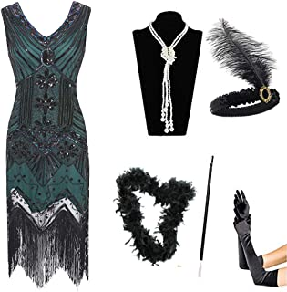AIDEAR 1920s Dresses for Women Gatsby Sequin Fringed Paisley Flapper Dress with 20s Accessories Set