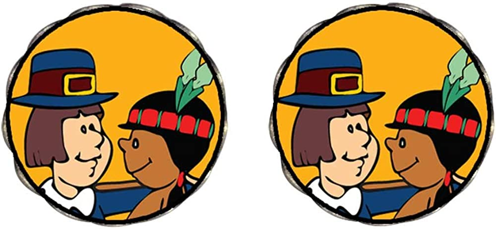 Bronze Retro Style Thanksgiving Pilgrim Indian Couple Clip On Earrings Flower Earrings #12