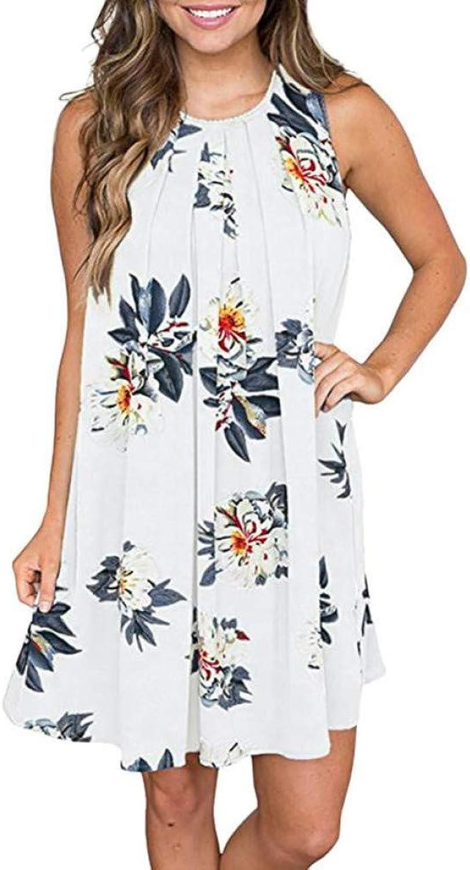 MBSDDH Dress Summer Beach Women Floral Printed O Neck Shift Keyhole Back Lady Sleeveless Dress
