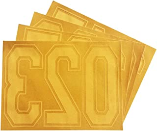 Magfok Iron on 8 Inch Flock Gold Numbers Transfer, 4 Sheet (Blue or Gold Optional)