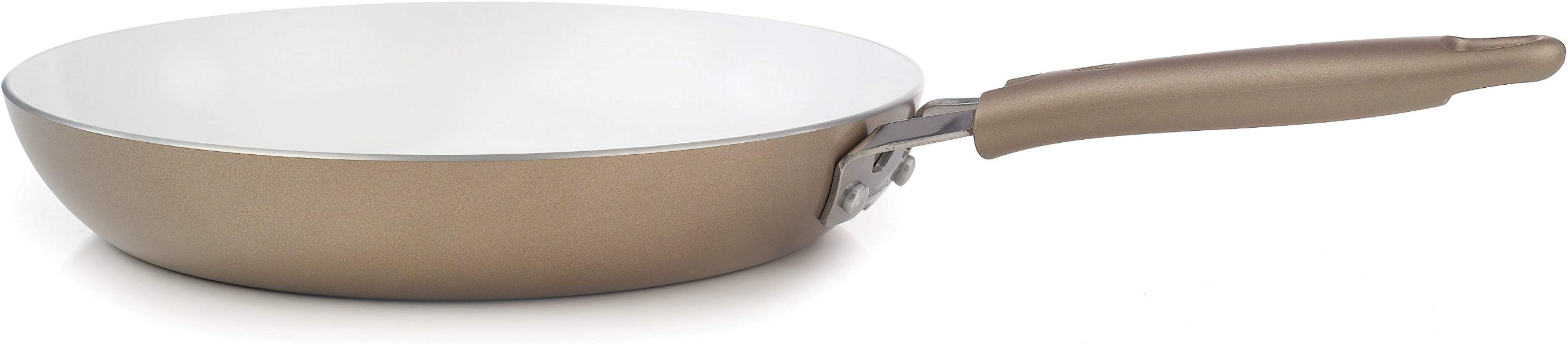 WearEver C94407 Pure Living Nonstick Ceramic Coating FPOA PTFE Free Saute Pan Fry Pan Cookware 12 Inch Gold