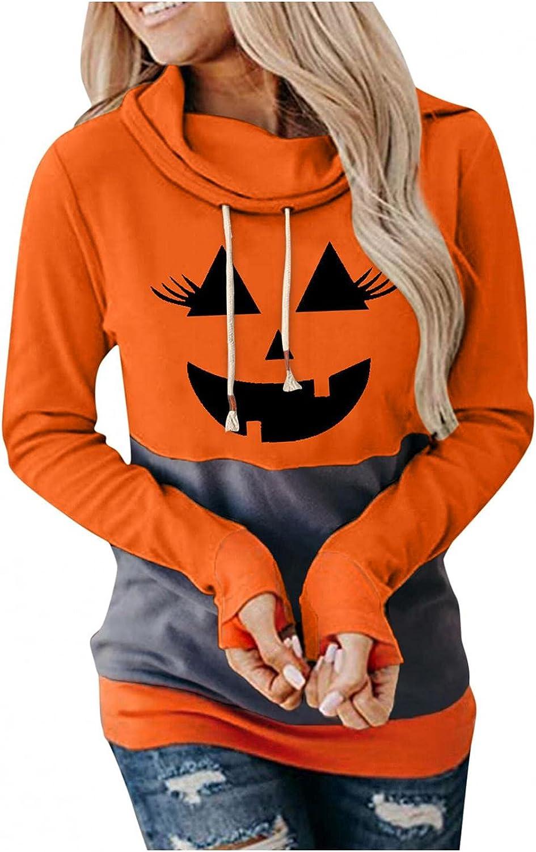 Hotkey Halloween Hoodies for Women, Cowl Neck Long Sleeve Sweatshirts for Women Pumpkin Face Print Drawstring Pullover Tops