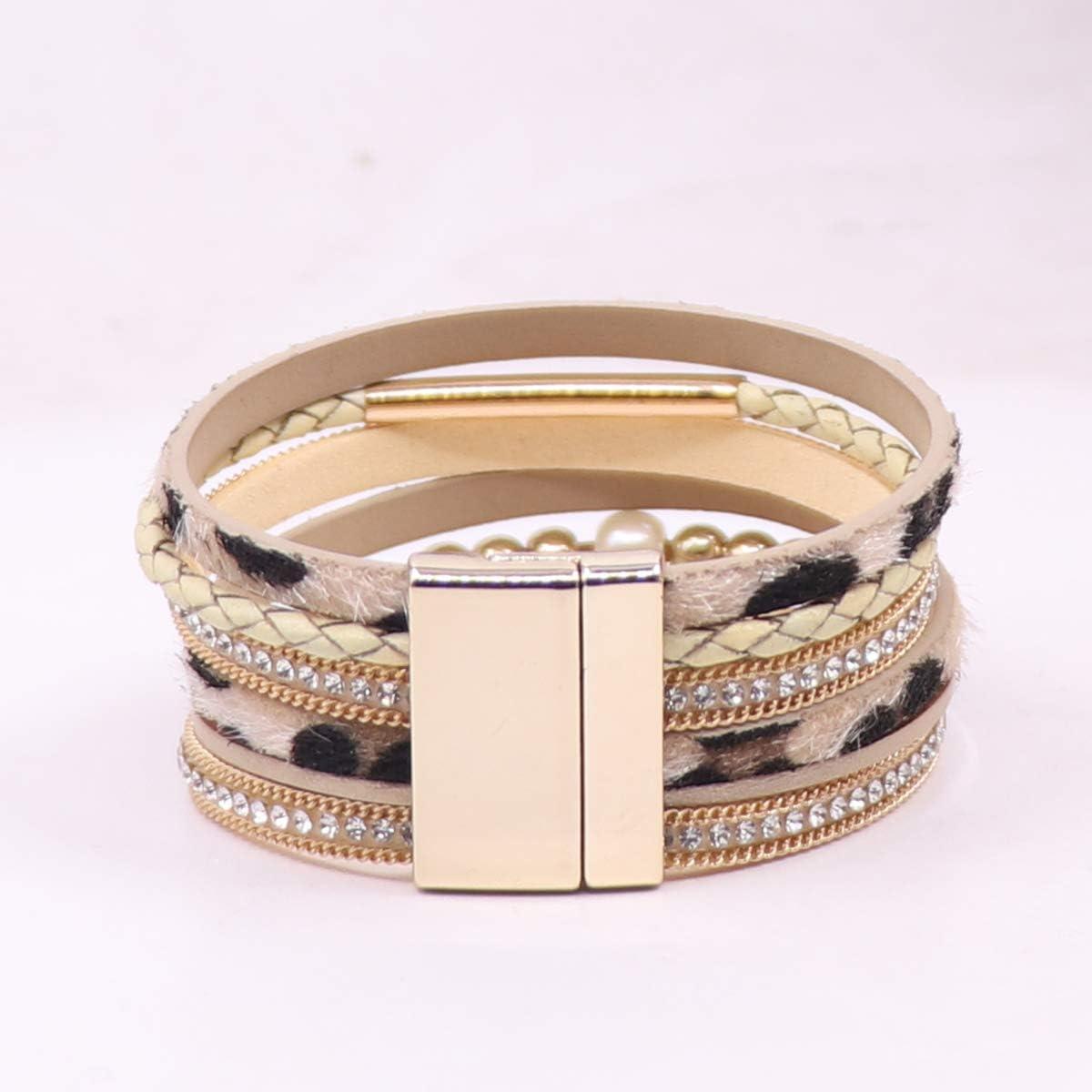 KSQS Multi-Layer Leather Wrap Cuff Bracelet, Boho Wide Braided Buckle Bracelets for Women, Waterproof Leather Wristband Bangles