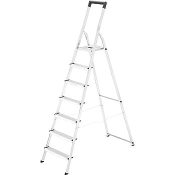 Hailo L40 - Escalera doméstica de aluminio, travesaño de seguridad con gancho para cubo (5 peldaños): Amazon.es: Bricolaje y herramientas