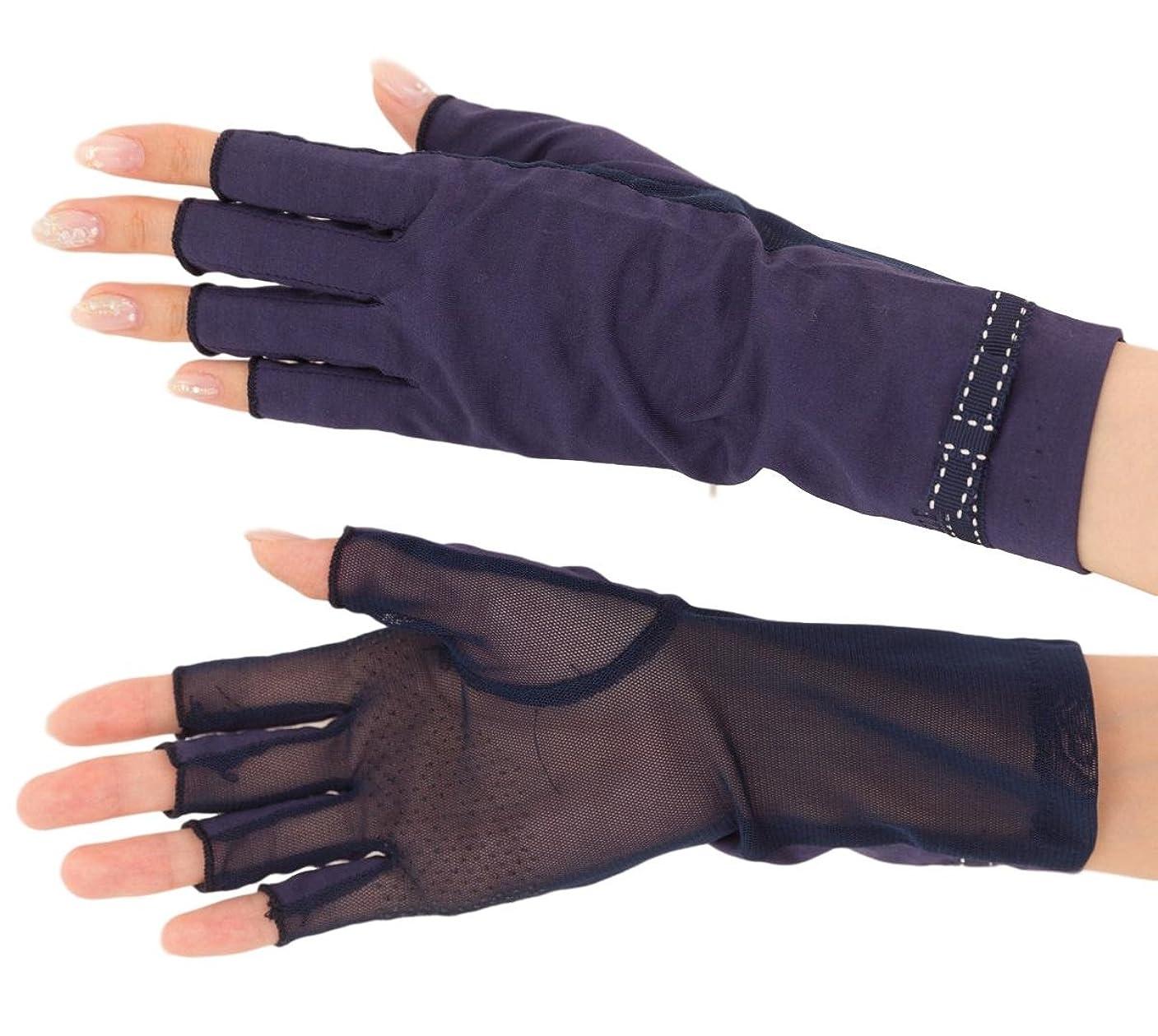 横にうまくやる()倫理的エル (ELLE) 接触冷感 スマホ対応 指切り ショート タイプ UV 手袋 メッシュ リボン 滑り止め ケース付 (ネイビー)