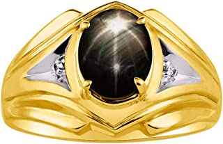 RYLOS Mens Ring with Oval Shape Gemstone & Genuine Sparkling Diamonds in 14K Yellow Gold Plated Silver .925-9X7MM Color Stone