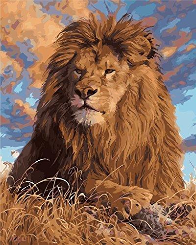 YEESAM ART Neuerscheinungen Malen nach Zahlen für Erwachsene Kinder - Löwe Tier 16x20 Zoll Leinen Segeltuch - DIY ölgemälde ölfarben Weihnachten Geschenke