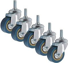 5 stks Meubelwielen Wielen 4in PVC Rem Swivel Castor Wheel Thread Stem 10 / 12mm Draag antislip Industrial Casters (Size :...
