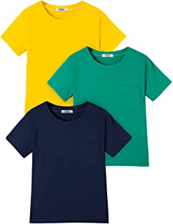 Boyoo Boys' 3-Pack Short Sleeve T-Shirts Solid Cotton Crew Neck Top Tee with Pocket for 5-14Y Kids