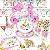 16 Invitados Kit Cumpleaños Unicornio Niña Platos Desechables Vasos Pajitas Servilletas Mantel Diadema Unicornio Guirnalda Feliz Cumpleaños Globos Fiestas Infantiles Decoracion Cumpleaños Unicornio
