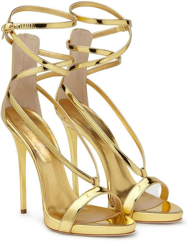 AnMengXinLing Ankle Straps Heeled Sandals Women Platform Strappy Open Toe Stilettos Dress High Heel Silver gold Wedding shoes