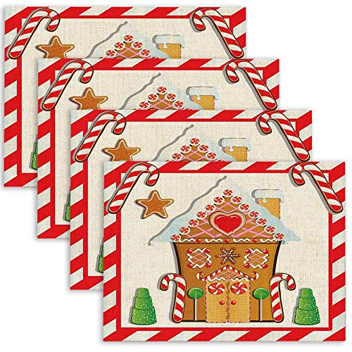 Pamime Christmas Placemats for Dining Table Set of 4 Cute Gingerbread House with Gumdrop Trees and Candy Cane Place Mats Table Mats for Kitchen Table 18X12 Inches