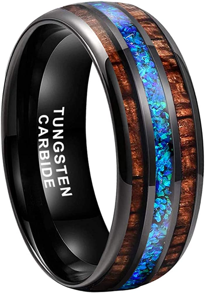 iTungsten 8mm Silver Black Tungsten Rings for Men Women Wedding Bands Blue Green Galaxy Opal Lapis Malachite Koa Wood Inlay Domed Polished Comfort Fit