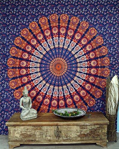 Guru-Shop Indiase Mandala-doek, Wanddoek, Bedsprei-mandala-bedrukking - Blauw/oranje/paars, Katoen, 230x210 cm, Mandala Bedspreien Handdoeken
