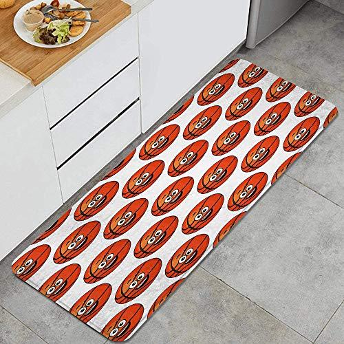 DYCBNESS alfombras de Cocina Antideslizantes Lavables,Baloncesto Feliz Sonriendo con Bolas Naranja Emoticonos Competición Entretenimiento,felpudos para Interiores y Exteriores 45x120cm